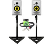 2x KRK Rokit RP4 G3 White with Monitor Stands & Cables Package