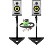 2x KRK Rokit RP4 G3 Silver with Monitor Stands & Cables
