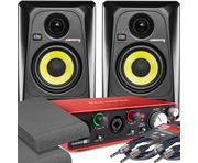 2x KRK RP4 G3 Black & Focusrite 2i2 2nd Gen with Pads and Cables