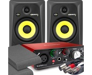 2x KRK RP6 G3 Black & Focusrite Solo 2nd Gen with Pads and Cables