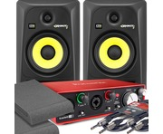 2x KRK RP6 G3 Black & Focusrite 2i2 2nd Gen with Pads and Cables