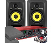 2x KRK RP5 G3 Black & Focusrite 2i4 2nd Gen with Pads and Cables