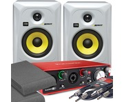 2x KRK RP5 G3 White & Focusrite 2i2 2nd Gen with Pads and Cables