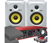 2x KRK RP5 G3 White & Focusrite 2i4 2nd Gen with Pads and Cables