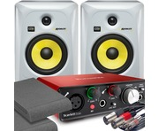 2x KRK RP6 G3 White & Focusrite Solo 2nd with Pads and Cables