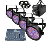 4x Chauvet SlimPAR 56, Obey 3 Controller, CHS-30 Bag & Cables