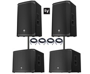2x Electro-Voice EKX-15P Speakers & 2x EKX-18SP Subwoofers