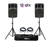 QTX QX12A Active Speakers with Stands & Cables