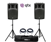 QTX QX15A Active Speakers with Stands & Cables