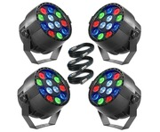 4x Stagg ECOPAR XS LED Spotlight & Cables
