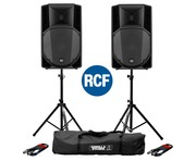 RCF Art 715-A MK4 PA Speaker (x2) with Stands & Cables
