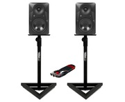 2x Mackie MR624 with GSM-100 Stands & Cable