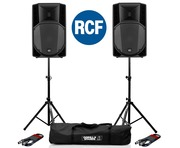 2x RCF Art 735-A MK4 PA Speaker with Stands & Cables