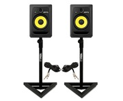 2x KRK Rokit RP8 G3 With Gorilla GSM-100 Monitor Stands & Cables