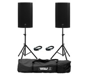 2x Mackie Thump 12A V4 with Stands & Cables