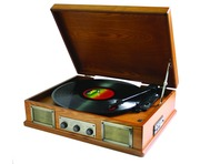 Steepletone Norwich Retro Wooden Record Player Light Wood