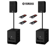 Yamaha DXR10 (Pair) & DXS12 MK2 (Pair) with Poles and Cables