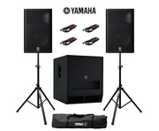 Yamaha DXR15 (Pair) & DXS18 with Stands and Cables