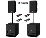 Yamaha DXR15 (Pair) & DXS18 MK2 (Pair) with Poles and Cables