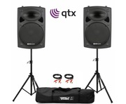 QTX QR15K Active Speakers with Stands & Cables