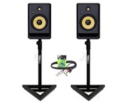 KRK Rokit RP8 G4 (Pair) with Studio Monitor Stands and Cable