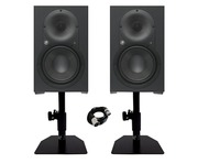 Mackie XR824 Studio Monitors (x2) with Desktop Stands & 3m XLR Cable