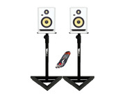 KRK RP7 G4 White Noise with Studio Stands + Cable