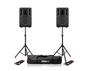 2x RCF Art 310-A MK4 Speaker with Stands & Cables