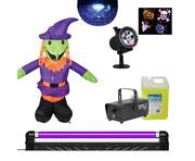 Moonglow LED + UV Backlight w/ Inflatable Witch, Projector, Smoke Machine + 5L Fluid