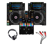 Pioneer CDJ-2000 NXS2 (Pair) + DJM-S11 w/ Headphones + Cable