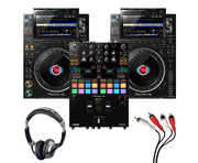 Pioneer CDJ-3000 (Pair) + DJM-S7 w/ Headphones + Cable