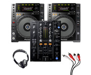 Pioneer CDJ-850 (Pair) + DJM-450 w/ Headphones + Cable