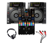Pioneer CDJ-850 (Pair) + DJM-S11 w/ Headphones + Cable