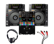 Pioneer CDJ-850K (Pair) + DJM-S7 w/ Headphones + Cable