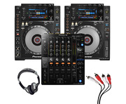 Pioneer CDJ-900 NXS (Pair) + DJM-750 MK2 w/ Headphones + Cable