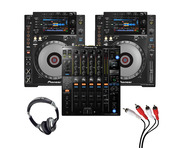 Pioneer CDJ-900 NXS (Pair) + DJM-900 NXS2 w/ Headphones + Cable