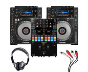 Pioneer CDJ900 Nexus (Pair) + DJM-S7 w/ Headphones + Cable
