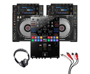 Pioneer CDJ-900 Nexus (Pair) + DJM-S9 w/ Headphones + Cable