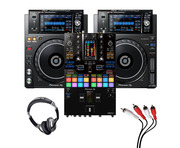 Pioneer XDJ-1000 MK2 (Pair) + DJM-S11 w/ Headphones + Cable
