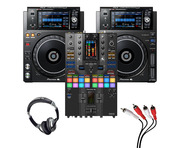 Pioneer XDJ-1000 MK2 (Pair) + DJM-S11 SE w/ Headphones + Cable