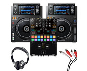 Pioneer XDJ-1000MK2 (Pair) + DJM-S7 w/ Headphones + Cable