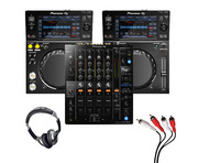 Pioneer XDJ-700 (Pair) + DJM-750 MK2 w/ Headphones + Cable