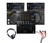 Pioneer XDJ-700 (Pair) + DJM-900 NXS2 w/ Headphones + Cable