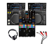 Pioneer XDJ-700 (Pair) + DJM-S11 w/ Headphones + Cable