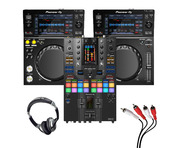 Pioneer XDJ-700 (Pair) + DJM-S11 SE w/ Headphones + Cable