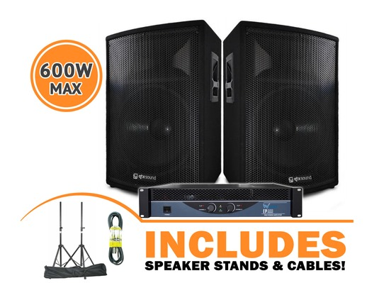 QTX Sound QT15 Speakers & W-Audio EP800 Amp Package