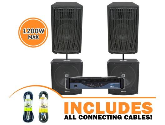 QTX Sound QT15 Speakers & QT15S Bass Bins & EP800 Amp Package
