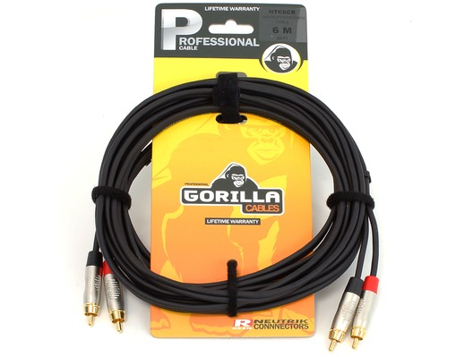 Gorilla Professional Cable 6m 2 x RCA Phono To 2 x RCA Phono Twin Lead