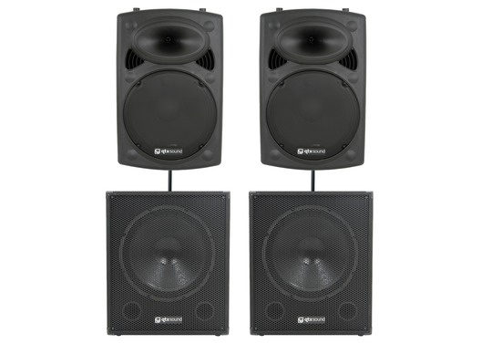 QTX Sound QR15K Speakers & QT15SA Subs PA Package