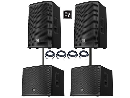 2x Electro-Voice EKX-12P Speakers & 2x EKX-15SP Subwoofers
